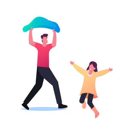 Characters under Rain, Sad Man Cover Head with Plastic Bag Running at Home, Happy Child in Cloak in Wet Rainy Day,