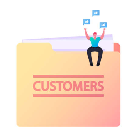 Tiny Character Sit on Huge Folder with Customers Base and Icons of Thumb Up around. Database of Clients, Loyalty Program