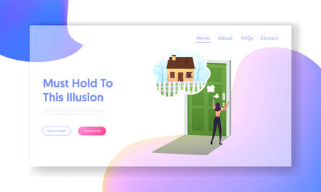 Mind Illusions, False and Fake Landing Page Template. Female Character Looking through Keyhole on Old Abandoned House