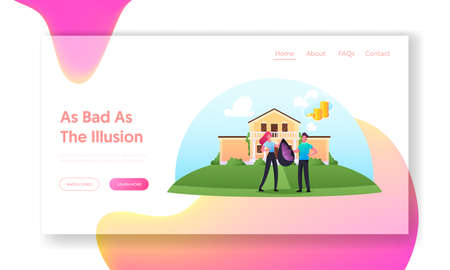 Illusions and Fraud Cheating Landing Page Template. Female Character Giving to Man Sack with Grass, he Think it is Money Ilustração