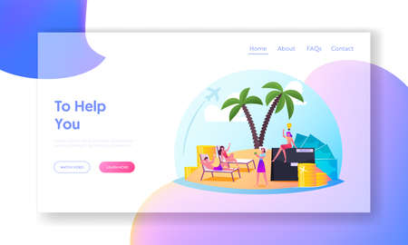 Successful Characters Enjoying Life in Comfort Zone Landing Page Template. Relaxed People on Island with Palm Trees