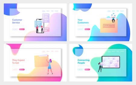 Business Characters Expand Customers Base Attract Clients Landing Page Template Set. Referral Program Management