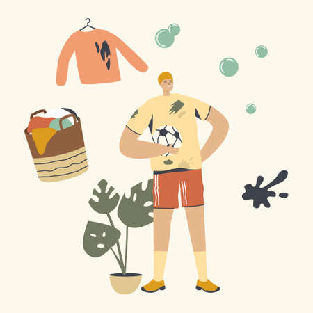 Sportsman Character Put Soil Stain on Clothes during Football Game. Household and Washing Clothing Chores, Visit Laundry Vecteurs