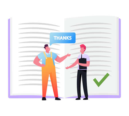 Worker in Overalls Saying Thanks to Businessman in Formal Suit Holding Clip Board. Tiny Characters Follow Etiquette Ilustración de vector