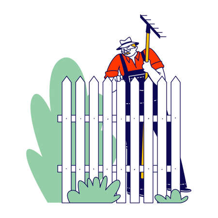 Senior Neighbor Character Wear Overalls and Panama Hat with Rake in Hands Stand at Fence with Sullen Face Expression