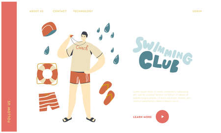 Swimming Sport Coach Teaching Swimmers Characters in Pool Landing Page Template. Sports Trainer with Whistle at Poolside