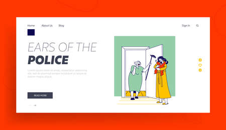 Angry Old Neighbor Landing Page Template. Female Character with Cane Yelling on Young Mother with Newborn Crying Baby