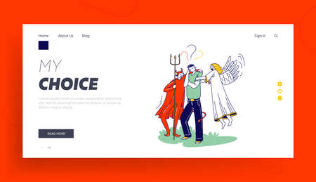 Man Having Moral Dilemma Landing Page Template. Male Character with Angel and Devil Behind of his Shoulders, Decision