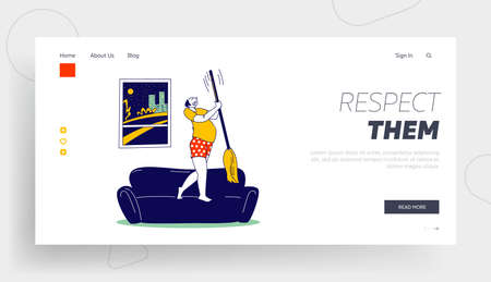 Neighborhood Conflict Landing Page Template. Angry Male Character Wear Underwear Stand on Sofa Knocking Ceiling with Mop