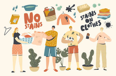 People in Clothes with Stains. Male Female Characters Stain Clothing with Food while Eating, Soil Spots after Football Ilustración de vector