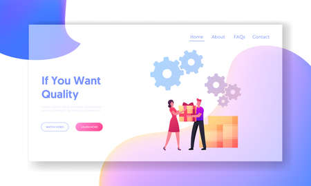 Upsell Landing Page Template. Seller Character Give Present to Woman Buyer. Upselling Marketing for More Profitable Sale