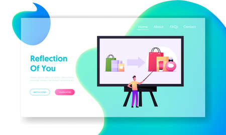 Upsell, Increasing Cost of Order Landing Page Template. Presentation, Offer to Buy More Expensive Product, Upselling  イラスト・ベクター素材