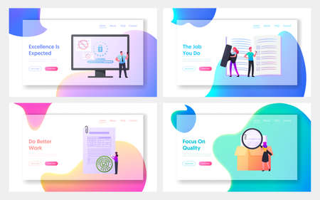Control Landing Page Template Set. Characters with Documents at Computer Controlling Goods Quality. Internet Security Vecteurs