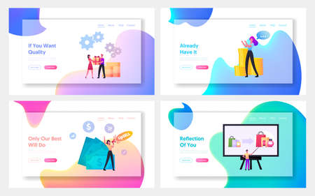Upsell Landing Page Template Set. Tiny Sellers and Buyers Characters at Huge Pc. Upselling Online Marketing Technique  イラスト・ベクター素材