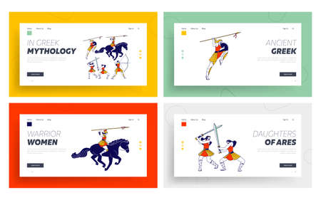 Amazons Women Warriors with Weapon Landing Page Template Set. Female Characters with Spears, Bow and Swords Fighting