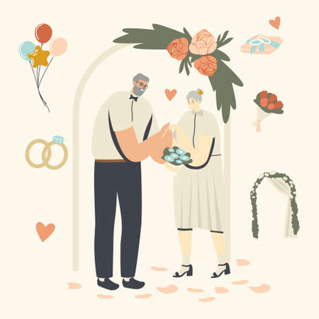 Senior Characters Wedding Ceremony. Happy Bridal Couple Man and Woman Get Married Changing Rings. Aged Bride and Groom