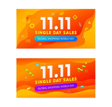 Set Advertising Banners for Global Shopping World Day Sale. Social Media Promo Template, Design for Shopping Discount