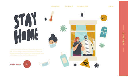 Stay Home during Quarantine Covid19 Isolation Landing Page Template. Woman and Man Characters Looking through Window
