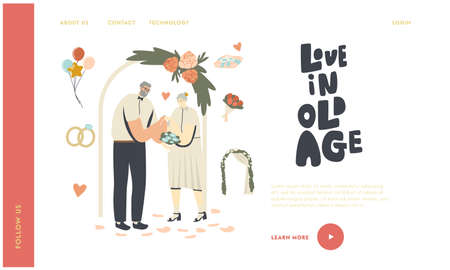 Senior Wedding Ceremony Landing Page Template. Happy Bridal Couple Get Married Changing Rings. Aged Bride and Groom  イラスト・ベクター素材
