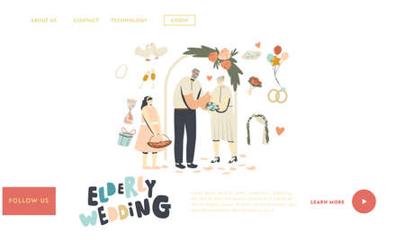 Senior Characters Wedding Ceremony Landing Page Template. Happy Bridal Couple Getting Married Changing Rings, Newlywed
