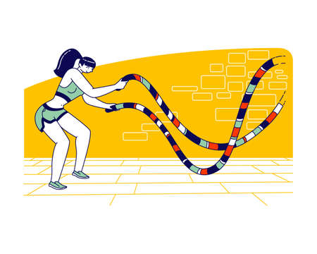 Sportswoman Character with Battle Rope Doing Functional Fitness Cross Training in Gym. Woman with Fit Body Exercising Illustration