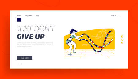 Athlete Woman with Fit Body Exercising Activity in Gym Landing Page Template. Sportswoman Character Battle Rope Training