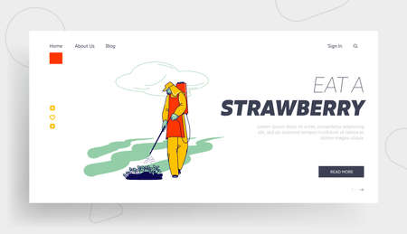 Farm Worker in Suit Fertilizing Berries on Field Landing Page Template. Immigrant or Volunteer Strawberry Distribution