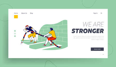 Characters Battle Rope Workout on Cross Training Landing Page Template. Athlete Men Tug of War Exercising in Gym, Sport