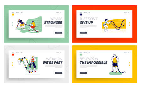 Sports Characters with Battle Rope Functional Fitness Training in Gym Landing Page Template Set. Men Tug of War Exercise