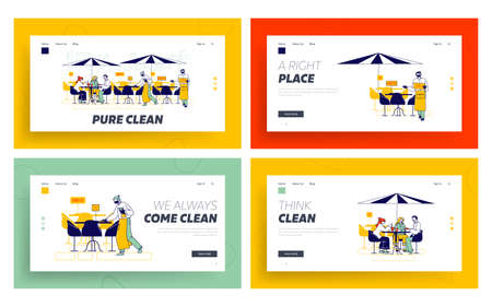 Restaurant Disinfection Landing Page Template Set. Coronavirus Infection Prevention. Characters Sit at Outdoor Cafe