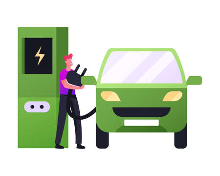 Refilling Station Worker Put Charger Plug to Car Socket. Eco Transport Electricity Power. Electric Car Green Technology