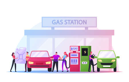 Refueling Car on Fuel Station. Man Pumping Petrol, Gasoline Oil and Charging Electric Auto. Vehicle Filling Service Vector Illustratie