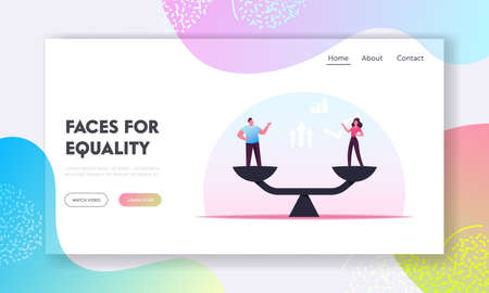 Gender Equality Landing Page Template. Businessman and Businesswoman Characters on Scales on Same Height, Emancipation
