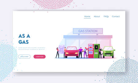 Characters Refueling Car on Fuel Station Landing Page Template. Man Pumping Petrol and Charging Electric Auto Service