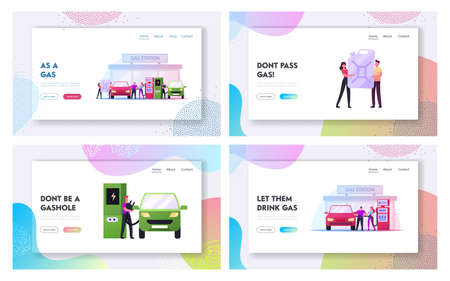 Characters Refueling Car on Fuel Station Landing Page Template Set. Man Pumping Petrol and Charging Electric Auto