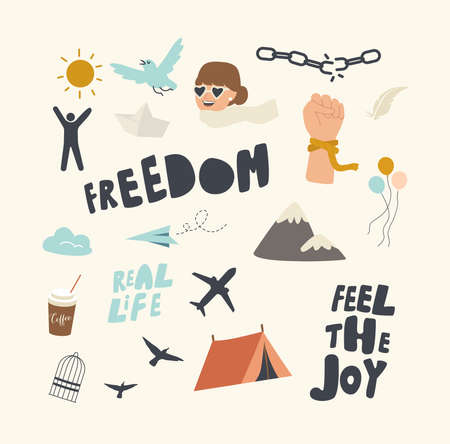 Set of Icons Freedom Theme. Feel Joy Typography, Broken Chains and Ropes, Flying Airplane, Camping Tent and Mountains