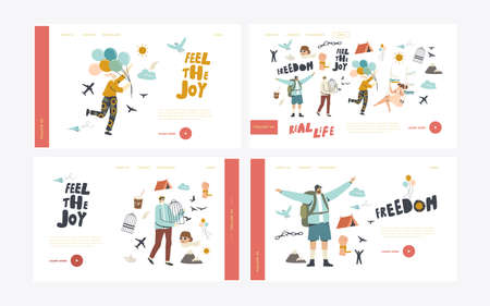 Characters Escape Home Isolation, Freedom Landing Page Template Set. People Leaving Cages, Break Ropes and Chains