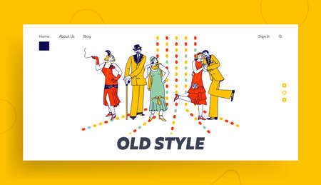 Couples Retro Dancing in Night Club Landing Page Template. Elegant Characters Active Lifestyle, Men and Women Spend Time