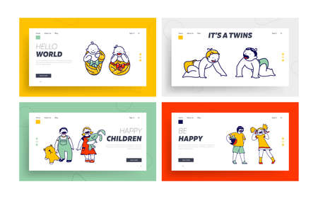 Children Characters Happily Smiling Landing Page Template Set. Baby Couple Little Newborn Babies, Toddlers, Preschoolers