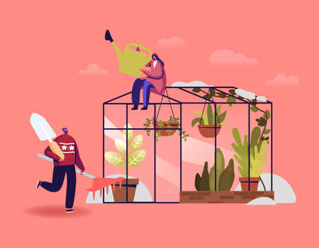 Gardener or Botanists Characters Working in Winter Garden Concept. People Planting Flowers and Potted Plants in Orangery