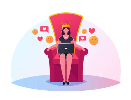 Queen Character with Laptop in Hands Sitting on Throne with Crown on Head. Hype, Viral Info in Social Network, Trends