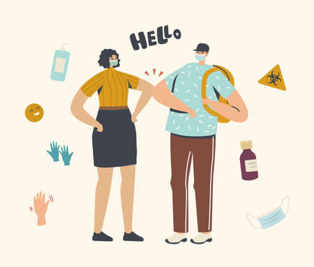 Health Safety, Distancing. Characters Greeting with Elbows Instead of Handshake. Friends or Colleagues Noncontact Greet