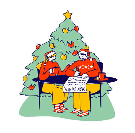 Young Couple Characters Writing Letter to Santa Claus Sitting in Room with Decorated Fir Tree, Christmas Festive Season