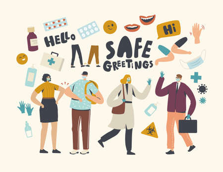 Characters Greeting Each Other Touching Elbows and Waving Hands. Friends or Colleagues Alternative Safe Noncontact Greet