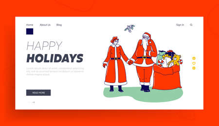 Mr and Mrs Claus Characters Landing Page Template. Happy Santa and his Wife Holding Hands under Mistletoe with Gifts Bag