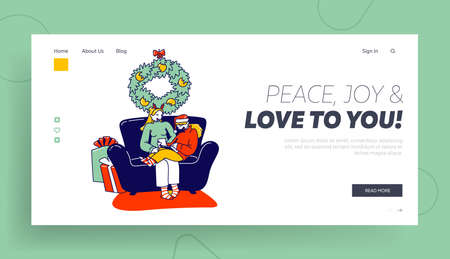 Festive Season Tradition Landing Page Template. Mother and Daughter Characters Writing Letter to Santa Claus Ask Gifts