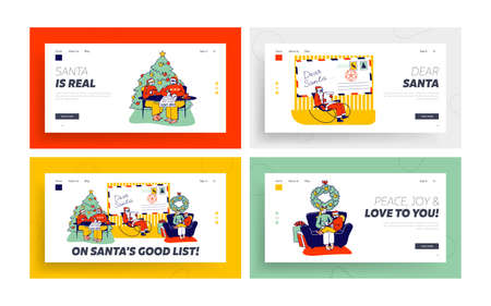 Characters Write Letter to Santa Claus Landing Page Template Set. People Ask Gift for Christmas Holidays. Festive Season