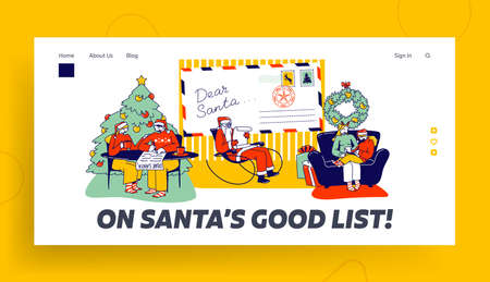 Characters Writing Letter to Santa Claus Landing Page Template. People Asking Christmas Gifts. Father Noel Read Message Ilustracja