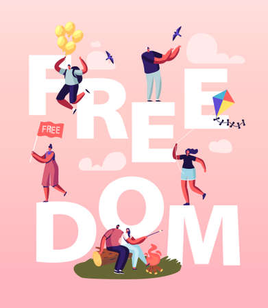 Freedom Concept. People Characters Characters Escape Home, Run with Kite and Flying with Air Balloons after Lockdown