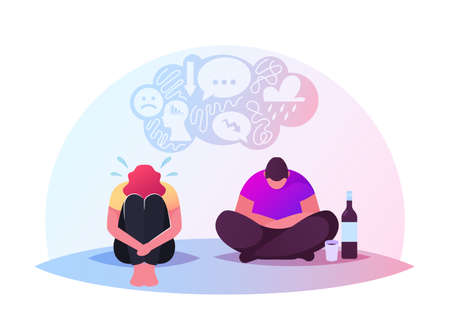 Drunk Characters Sitting on Floor in Depressed Mood with Wine Bottle and Bowed Head. Depression, Bipolar Disorder